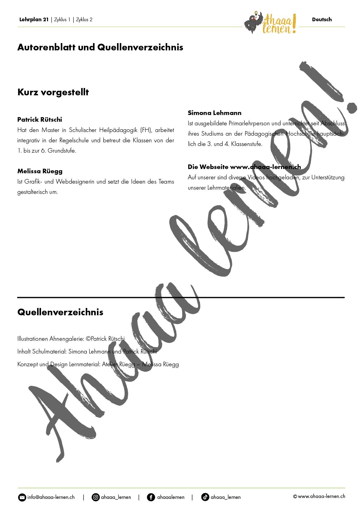 Ahaaa lernen   Ahnengalerie Unterrichtsmaterial   Lehrplan 21