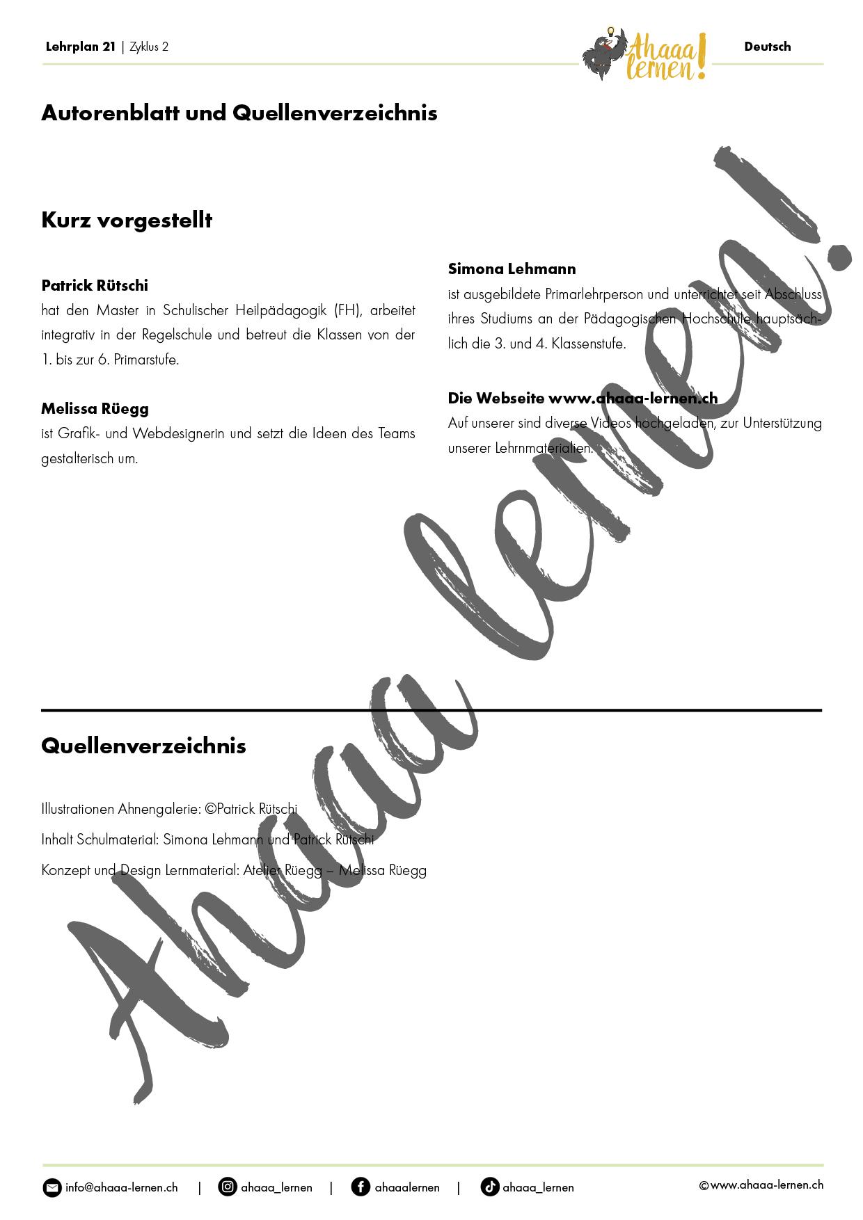 Ahnengalerie Lernkontrolle Textverständnis